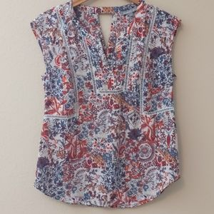 Daniel Rainn Paisley Sleeveless Blouse, S